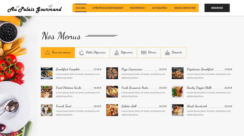 Thème site web restaurant