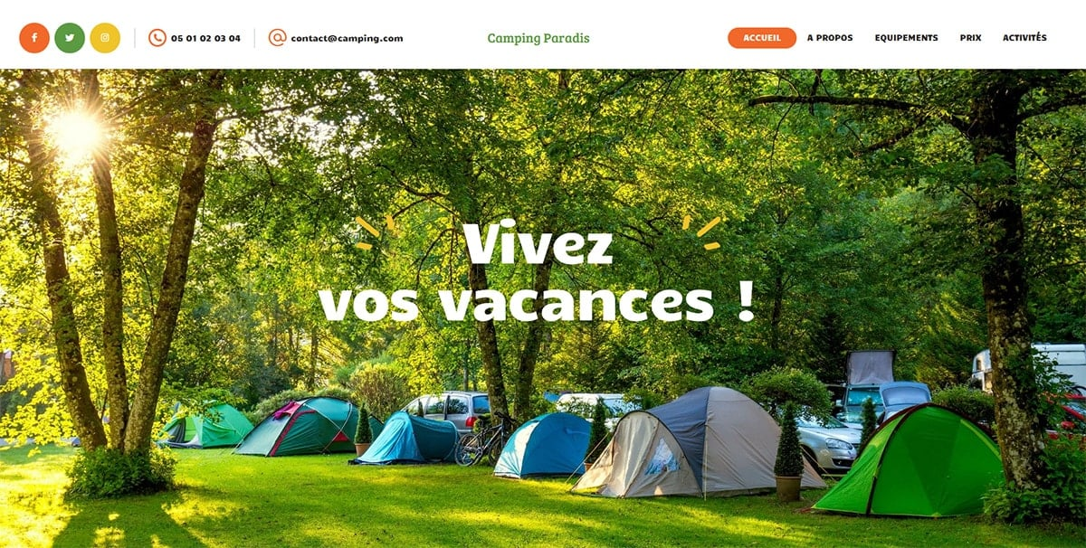 Site web camping