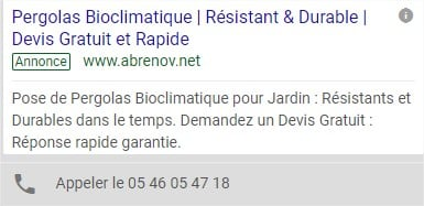 Exemple annonce Adwords